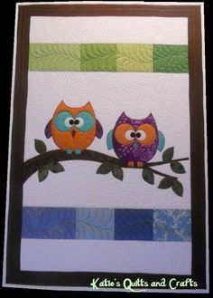 Baby quilt - owls by Katie's Quilts and Crafts
