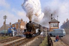 Railway & Landscape Paintings by Rob Rowland GRA. Stanier Black 5 at an imagined location in the early Train Pictures, Old Pictures, Steam Pictures, Ribblehead Viaduct, Uk Rail, Steam Art, Old Lorries, Steam Railway, Train Art