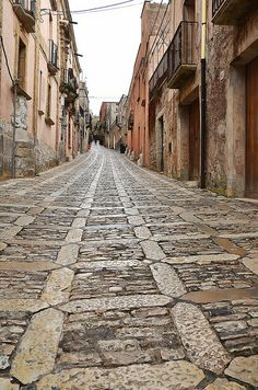 Alley in Erice, Sicily, Italy