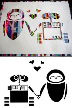 DIY Cheap and Easy Recycled Magazine Wall-E Wall Art Tutorial bylilstar765at Craftster here.Strips of paper and a big stencil you lay ove...