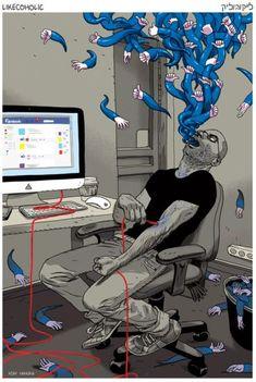 Facebook addict ! #socialmedia #blackhumor #humor #humour #facebook #humournoir