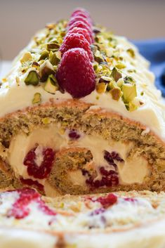 A Raspberry Pistachio White Chocolate Roulade is the perfect easy, forgiving showstopper dessert to make at any time of year, ready in under an hour! Pear And Almond Cake, Almond Cakes, Baking Recipes, Cake Recipes, Dessert Recipes, Desserts To Make, Delicious Desserts, Chocolate Roulade, Pistachio Cake