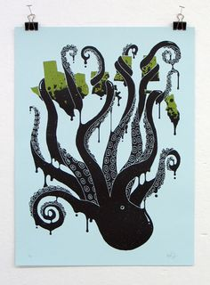 Octopus with green