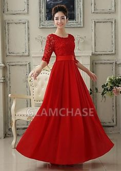 Floor-length Scoop A-line Lace-up Red Formal Evening Dresses