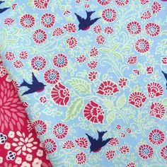 Blend, vintage summer, songbird powder blue fabric/ quilting clothing bird | eBay