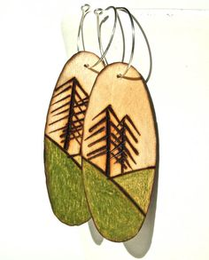 Wood burned hand-colored natural #wood #earrings by TreeFarmStudio on #Etsy