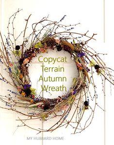 Copycat Terrain Autumn Wreath | No Spend Challenge DIY Craft Foxtail Grass, No Spend Challenge, Autumn Wreaths, Fall Diy, Copycat, Home Decor Inspiration, Grapevine Wreath, Dried Flowers, Grape Vines
