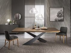- Table à manger rectangulaire en bois LIVING – Graphite & Walnut Rectangular wooden dining table LIVING – Graphite & Walnut - Dinning Table Design, Wooden Dining Tables, Table And Chairs, Dining Room Table Legs, Walnut Dining Table, Table Furniture, Furniture Design, Esstisch Design, Living Room Decor
