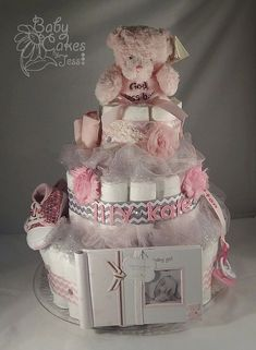 Pink and Grey Chevron Teddy Bear Diaper Cake