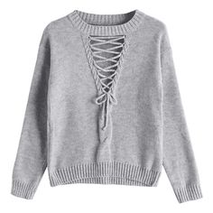 Crew Neck Lace-up Sweater Gray (170 GTQ) ❤ liked on Polyvore featuring tops, sweaters, grey lace up top, crew neck tops, grey crewneck sweater, grey top and grey sweater