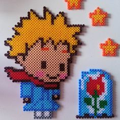 The Little Prince hama beads by tinaotemm Perler Beads, Fuse Beads, Hama Beads Patterns, Peyote Patterns, Beading Patterns, Pixel Art, Plastic Bead Crafts, Kawaii Diy, Iron Beads