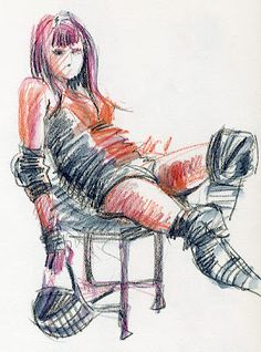 Lynne Chapman's Dr. Sketchy illustration of Miss D from Sheffield Steel Rollergirls