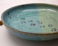 Stoneware Pet Feeding Dish Bowl Ceramic Pottery Clay Handmade Cat Dog on Etsy, $28.00