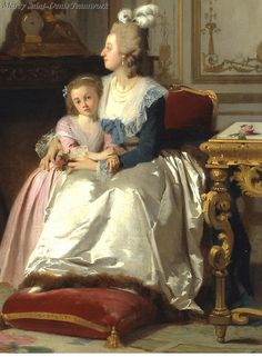 Madame de Lamballe reading to Marie Antoinette and her daughter, Marie Thérèse Charlotte by Joseph Carauad, 1858. detail.