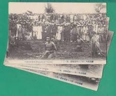 "Not the ""Nanking Massacre"" but more uncropped postcards showing Chinese executions. The images were very popular at the time, and sold in bundles of ten to Japanese soldiers as souvenirs. Photographers would compete with each other, and often bribe Chinese officials for locations, and to allow them to film the event. A good image was a worthwhile investment."