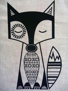 Love foxes !  Screen Printed Finn McTrickster Black on Flax Essex Linen Panel on Etsy, $15.00 AUD
