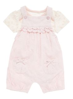 Baby Girls Pink Woven Bibshort Set (0-12 months) | Tu clothing