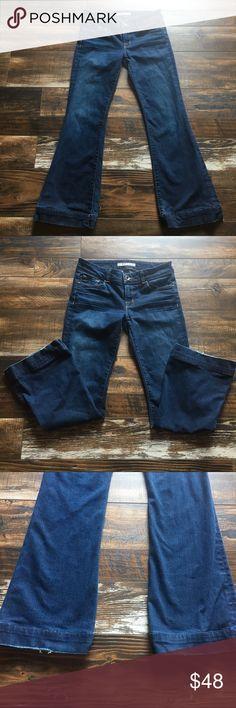 J Brand love story jeans Love story dark vintage, rise 8.5, inseam 30, waist 16, sz 29, please see fraying on bottom back of both hems. J Brand Jeans Flare & Wide Leg