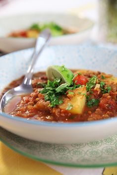 Soup of green lentils and Indian flavors