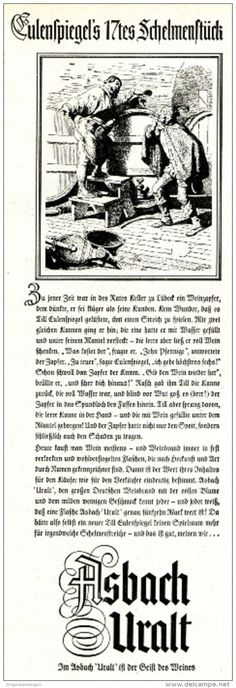 Original-Werbung/ Anzeige 1954 - ASBACH URALT / TILL EULENSPIEGEL - ca. 60 x 200 mm