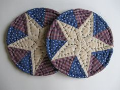 Americana Quilted Mug Mats Quilted Coasters Fabric by dlf724, $9.50