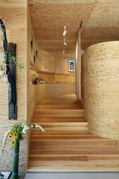 timber clad community center in hiroshima by UID architects re adapted from grocery store Curved Staircase, Modern Staircase, Japan Architecture, Architecture Design, Smart Home Design, Restaurants, Dome House, Interior Decorating, Interior Design