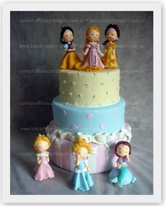 Bolo Princesas. #Disney Little Girl Princesses #cake