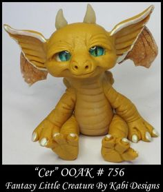 Fantasy Little Dragon DollHouse Art Doll Polymer Clay CDHM OOAK IADR Cer  Mini #KabiDesigns