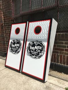 https://flic.kr/p/VerFXr | Ford Motor Company hand crafted cornhole boards | The red adds nice bright element, and was a great decision on the customers part.  Their name (not shown here) was also painted on red on the very front part of the cornhole board, facing the bean bag toss thrower.