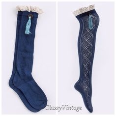 Over the knee socks with coconut button and tassel These are blue. With lace top and coconut button and hanging tassel. Size 5/9.5 Boutique Accessories Hosiery & Socks