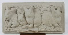 Bunny Family Plaque Wall Hanging Cast Mold Sculpture Art by Carruth 1991