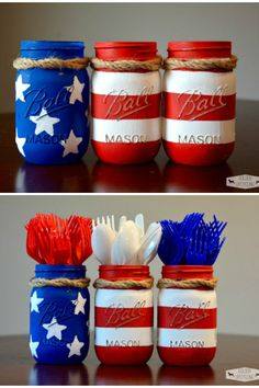 Mason jars that are ready for your 4th of July party or back yard BBQ. Definitely patriotic like and will add to your table for Independence day!