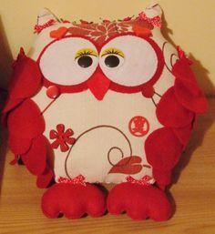 READY TO SHIP Handmade Felt Owl Ornament Stuffed by PlushiesTemple