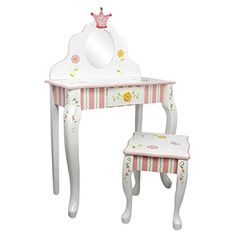 Kids' Vanities - Teamson Design Fantasy Fields Princess  Frog Vanity Table and Stool Set ** Learn more by visiting the image link.