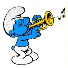 Musician SMURF blowing trumpet music instrument musical note Iron On Transfer for T-Shirt --- http://www.amazon.com/Musician-blowing-trumpet-instrument-Transfer/dp/B005I6BHQ2/?tag=smartshoppinge-20