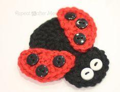 Crochet Ladybug Applique - Repeat Crafter Me