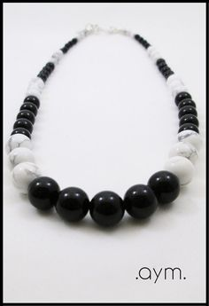 Onyx and Howlite Beaded Necklace from the .aym. Zoopraxis Collection, $38.
