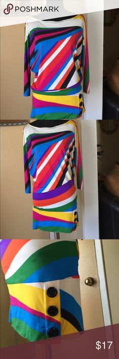 Multicolor 3/4 Sleeve Top, size M Multi color 3/4 cold shoulder sleeve top. . Worn once. Like new. True Light Tops Blouses
