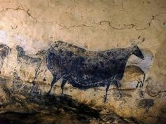 Paleolithic cave paintings in the Lascaux Caves, France. The art covering the cave walls is estimated to be years old. Cave Paintings France, Lascaux Cave Paintings, Chauvet Cave, Fresco, Art Pariétal, Art Rupestre, Cave Drawings, Art Ancien, Art Premier