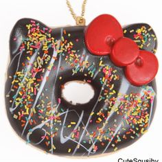 Strawberry Frosted Yellow Donut Sprinkles Key Chain Sanrio Hello Kitty Squishy