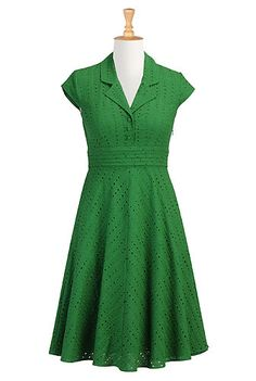 Forest eyelet shirtdress, with the option to customize the size.