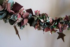 Christmas Garland with Rustic Stars by on Etsy Christmas Colors, Christmas Wreaths, Christmas Decorations, Holiday Decor, In The Tree, Country Christmas, Garland, Burgundy, Rustic