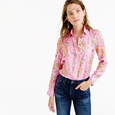 J.Crew Collection Drake's for  J.Crew Perfect shirt in pink Bengal tiger. Love this new collab!