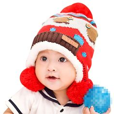 6754f1d8f99 Lean In Baby Girls Boys Knitted Button Bear Double Ball Wool Cap Winter Warm  Earflap