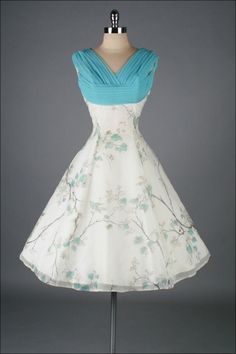 Vintage 1950's White Chiffon Bird Print Cocktail Dress | From a collection of rare vintage evening dresses at http://www.1stdibs.com/fashion/clothing/evening-dresses/