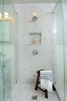 Herringbone tile in shower, basketweave on floor. by gayle Marble Bathroom Floor, Shower Floor Tile, Shower Niche, Bathroom Rug Sets, Small Bathroom, Marble Tiles, Marble Floor, Master Bathroom, Bathroom Ideas