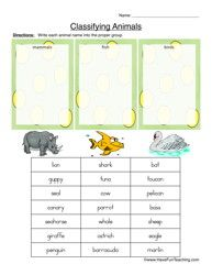 Classifying Animals Worksheet - Mammals, Fish, or Birds