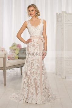 Online Shopping Sheath Column Lace Straps Court Train Lace Wedding Dresses UK L0007 With Discount Price