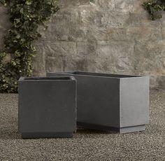 Weathered Cast Stone Cube Planters | Weathered Cast Stone Slate Planters | Restoration Hardware $280 (large)