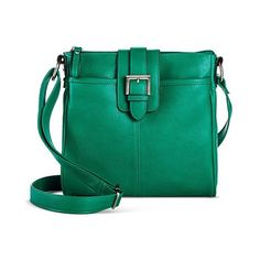 Merona Women's Solid Crossbody Handbag with Buckle Pocket - Green ($23) ❤ liked on Polyvore